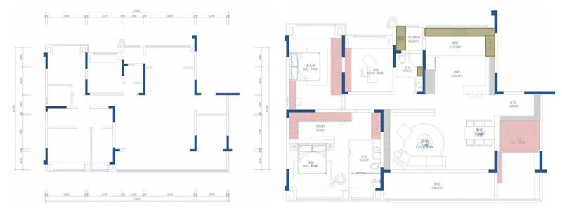 """绝美大平层!小吧台+满墙柜,这154㎡""""高级灰+海棠红""""设计的厨房好用到爆!(图1)"""
