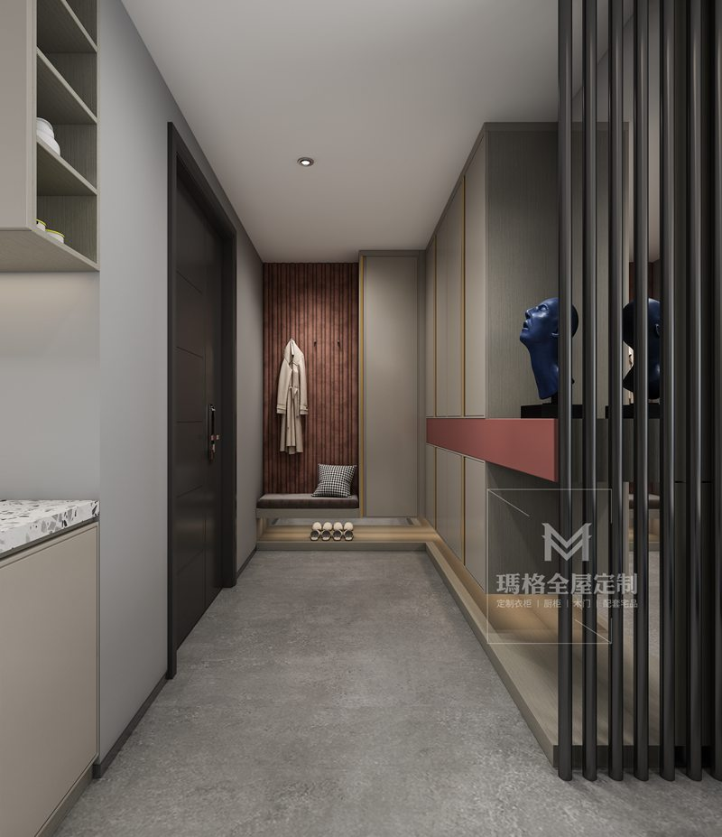 """绝美大平层!小吧台+满墙柜,这154㎡""""高级灰+海棠红""""设计的厨房好用到爆!(图3)"""