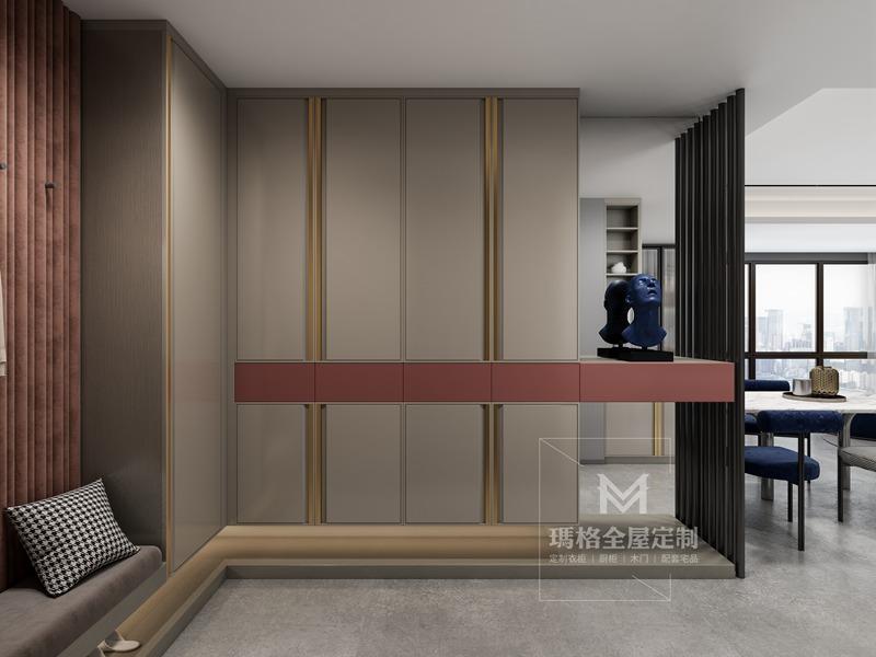"""绝美大平层!小吧台+满墙柜,这154㎡""""高级灰+海棠红""""设计的厨房好用到爆!(图4)"""